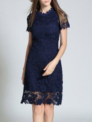 Ruff Neck Sheath Lace Semi Formal Dress - Purplish Blue