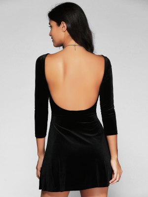 Open Back Mini Fit And Flare Dress - Black