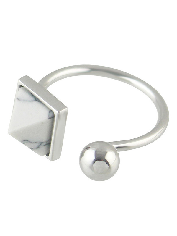 Alloy Faux Rammel Geometric Cuff Ring