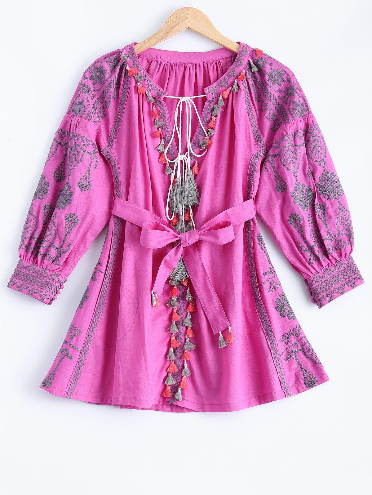 Lantern Sleeve Embroidered Loose Dress