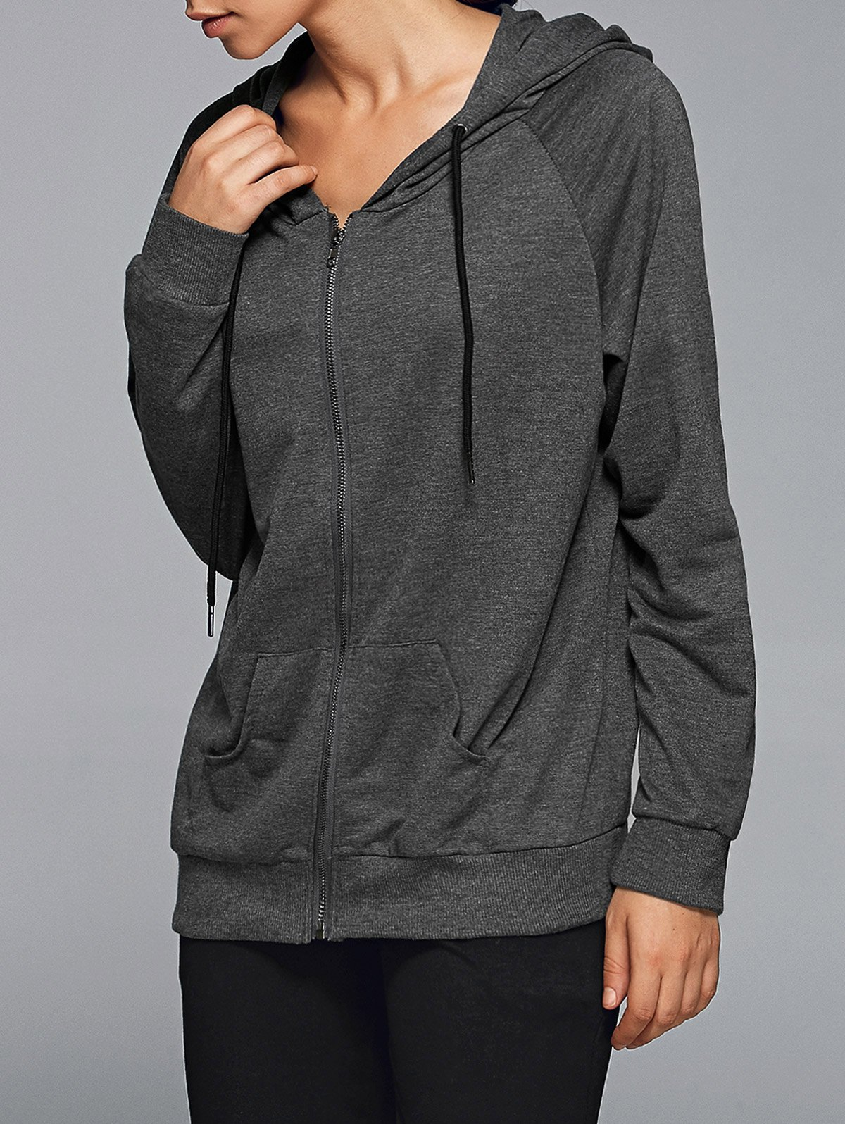 Active Zip Up HoodieClothes<br><br><br>Size: M<br>Color: DEEP GRAY