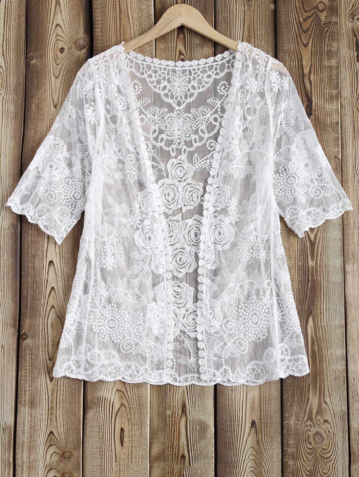 Rose Pattern See-Through Lace Cover Up
