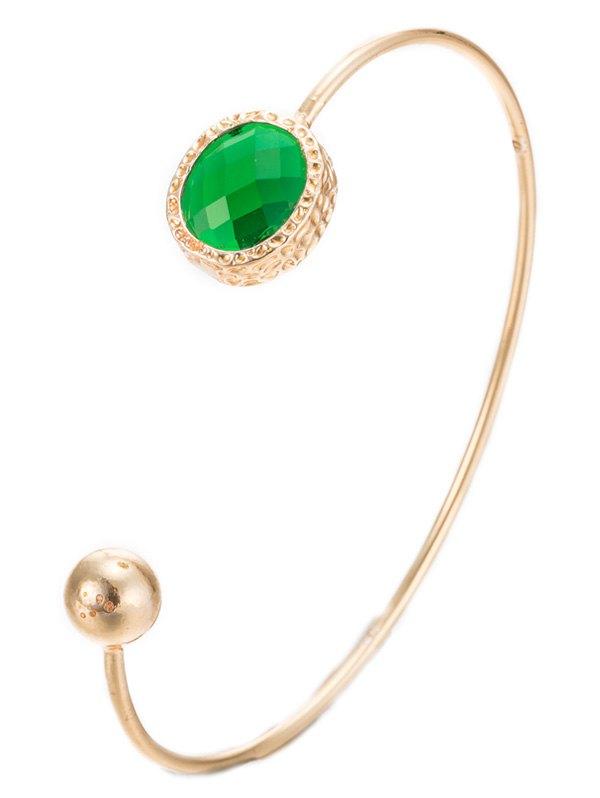 Alloy Faux Emerald Bead Cuff BraceletAccessories<br><br><br>Color: GREEN
