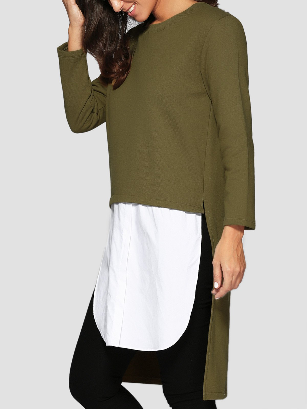 High Low Spliced Longline SweatshirtClothes<br><br><br>Size: ONE SIZE<br>Color: GREEN