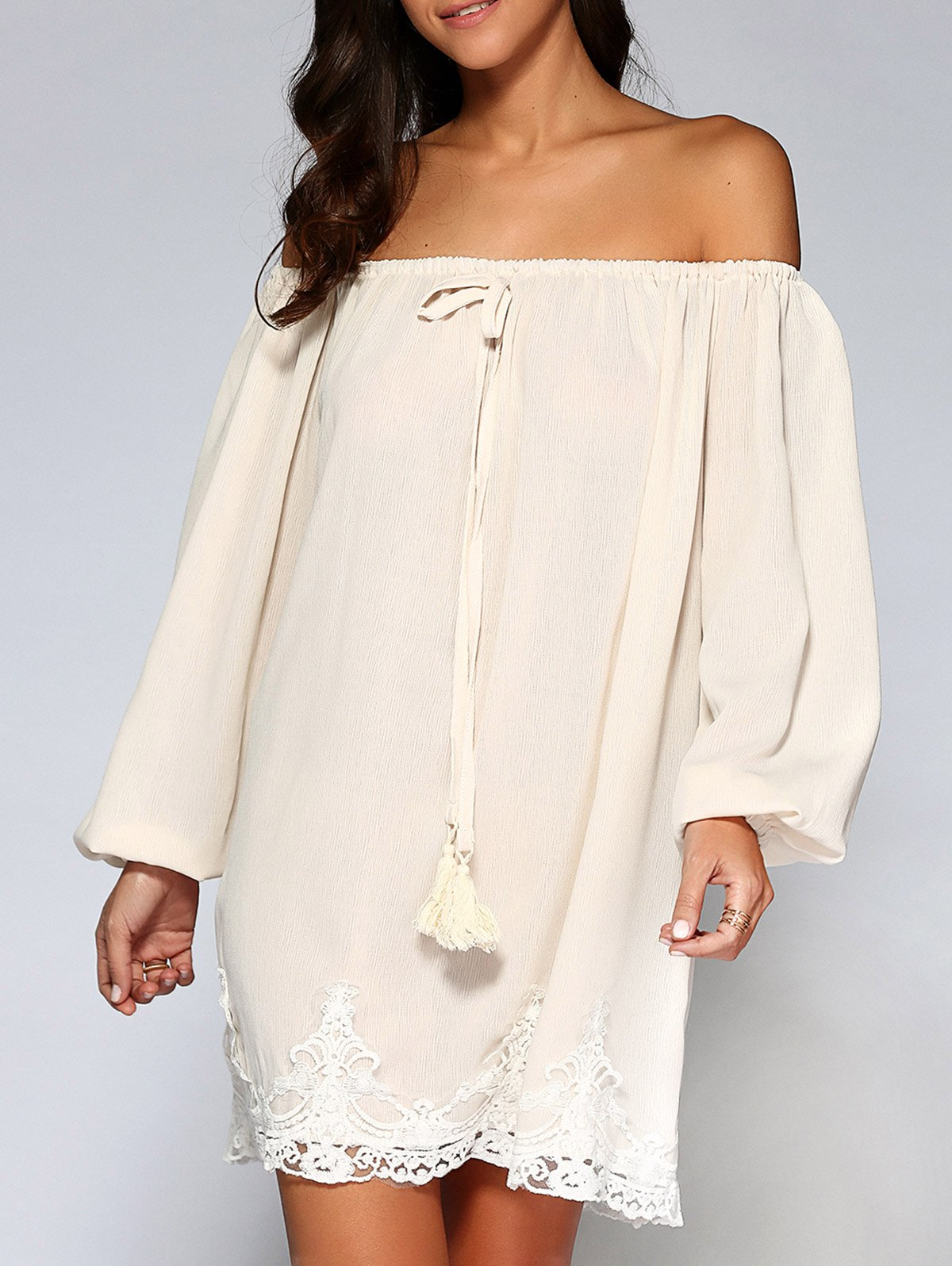 Lace Trim Off-The-Shoulder Dress