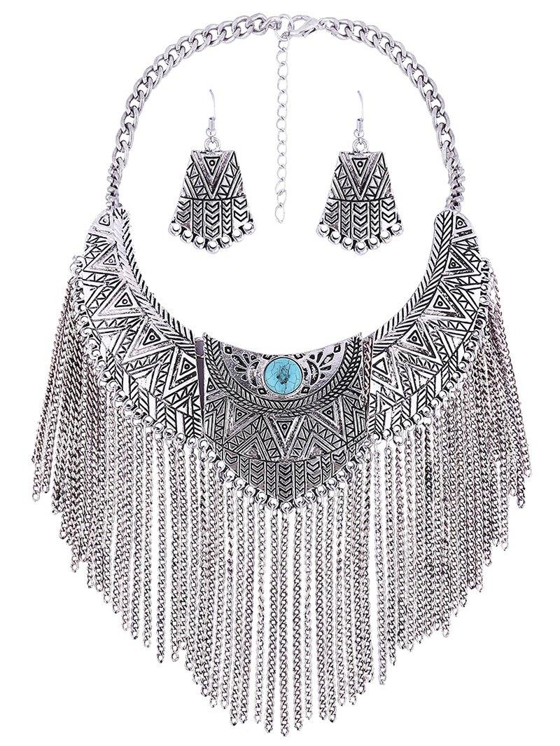 Tassel Fake Collar Necklace Earrings
