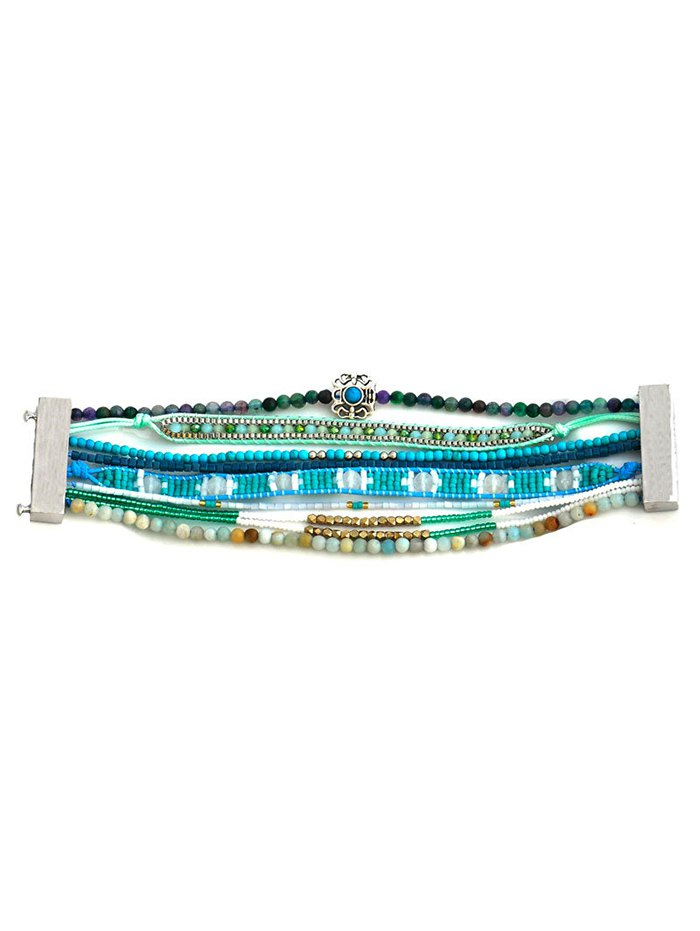 Faux Turquoise Seed Beaded Bracelet