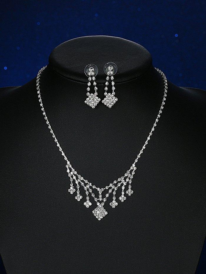 Square Rhinestoned Wedding Jewelry SetAccessories<br><br><br>Color: SILVER