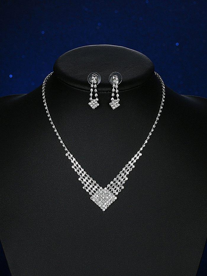 Alloy Rhinestoned Geometric Bridal Jewelry SetAccessories<br><br><br>Color: SILVER