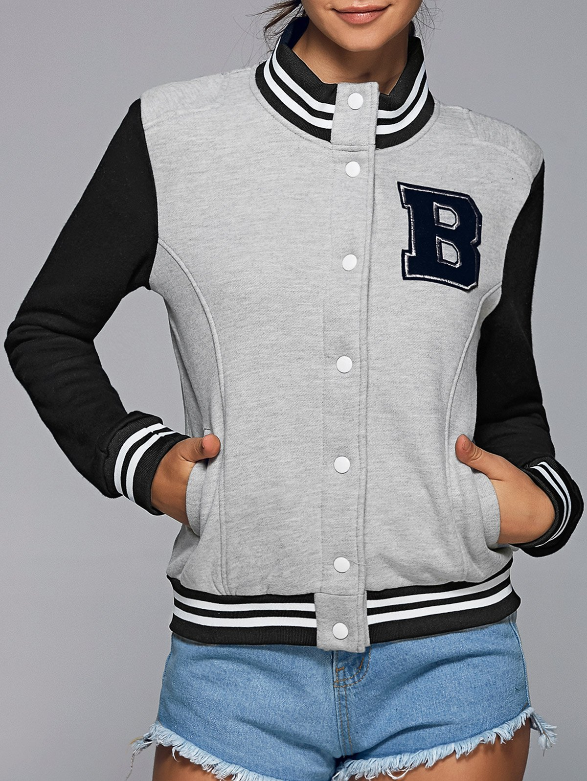 Stand Neck Color Block Baseball Jacket
