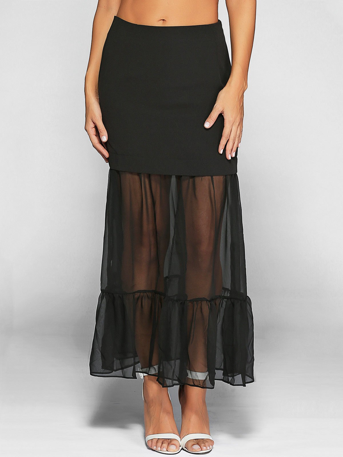 Ruffle See-Through Tulle Maxi SkirtClothes<br><br><br>Size: 2XL<br>Color: BLACK