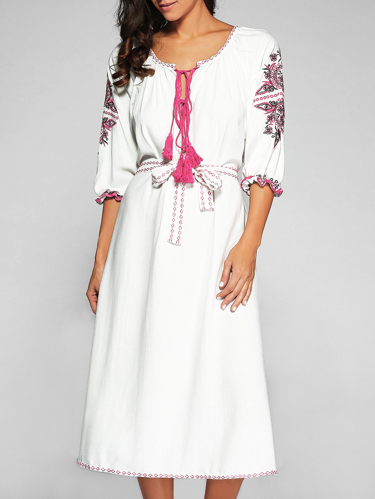 Tie-Neck Embroidered Bell Sleeve Dress