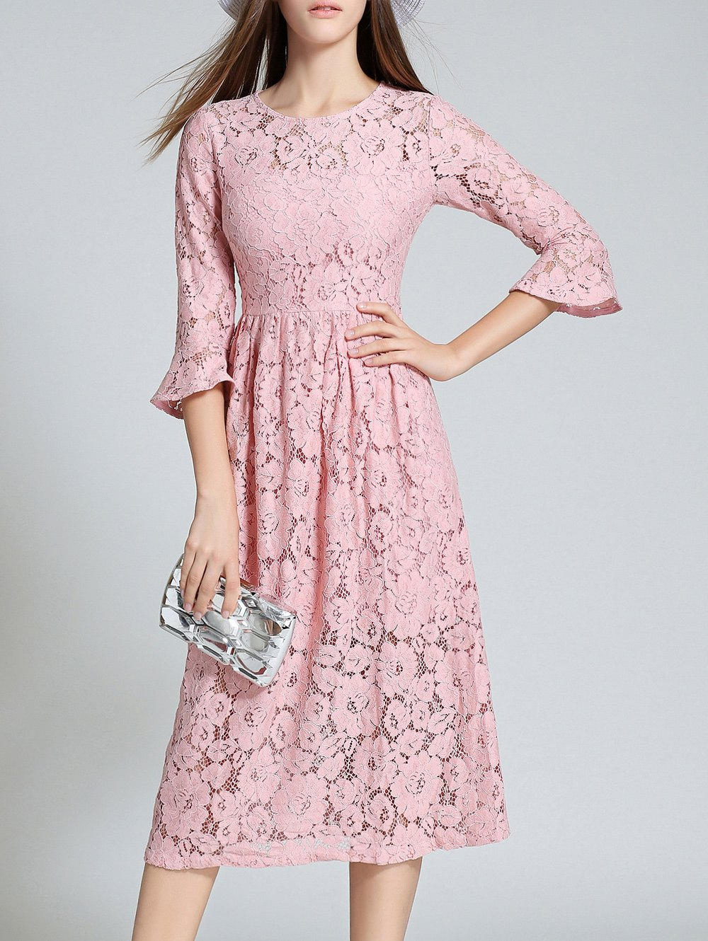 Round Neck Flare Sleeve Lace Dress