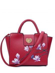 مجنح ماغنوليا طباعة حمل حقيبة - أحمر