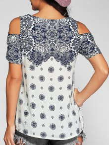 Open Shoulder Short Sleeve T-Shirt - Blue And White S