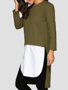 Buy High Low Spliced Longline Sweatshirt ONE SIZE GREEN