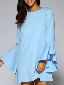 Loose Round Neck Flare Sleeve Chiffon Dress