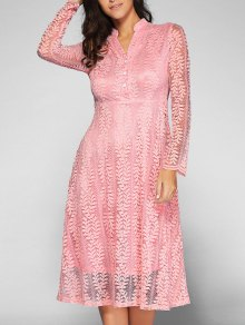 Leaf Pattern Lace Dress