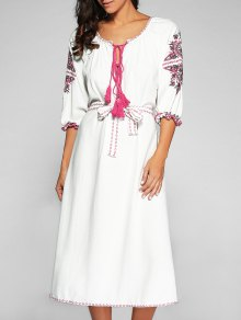 Belted Embroidered Midi Dress With Sleeves - Off-white