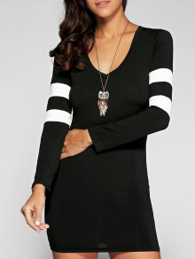 V Neck Stripes Bodycon Robe T-shirt - Noir L