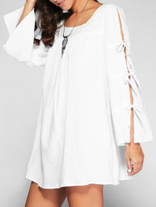 Lace Up Flare Sleeve Swing Dress
