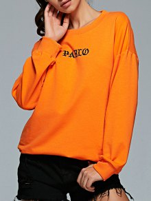 Long Sleeve Letter Pattern Gym Sweatshirt - Orange M