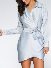 Crossover Wrap Shirt Dress - Gray