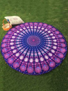 Arab Print Round Beach Throw - Purple