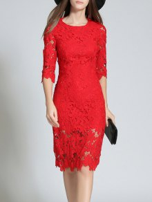 Round Neck 3/4 Sleeve Full Lace Bodycon Dress - Red L