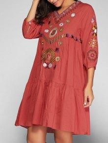 Vestido De Bata Con Bordado - Jacinto M
