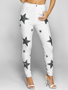 Pentagram Print Slimming Pencil Jeans - White L