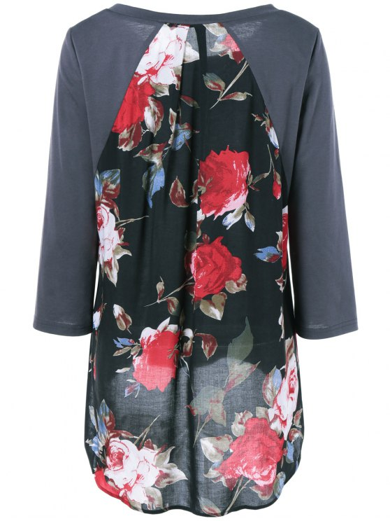 Flower Pattern Layered Blouse - DEEP GRAY M Mobile
