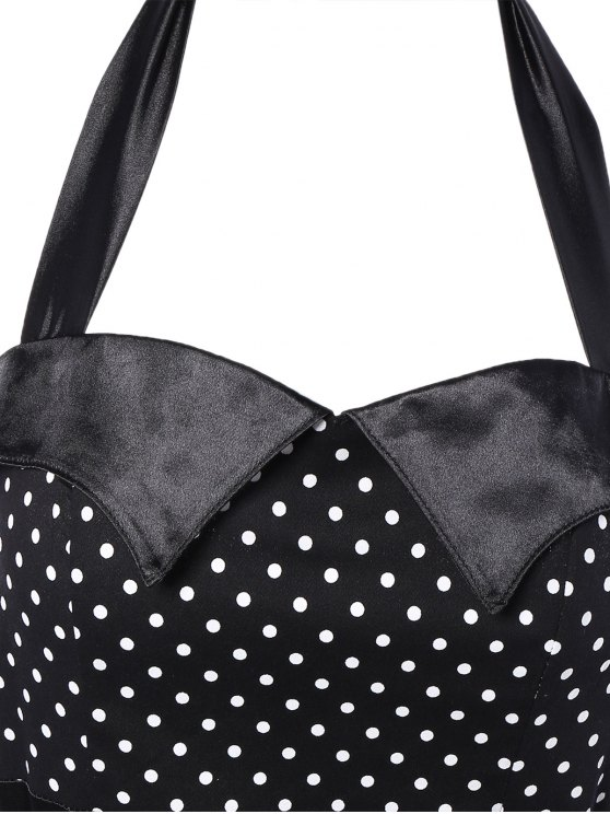 Halter Bowknot Polka Dot Pencil Dress - BLACK S Mobile