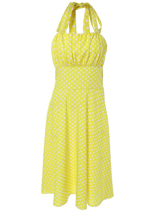 Vintage Halter Polka Dot Empire Waist Dress - YELLOW XL Mobile