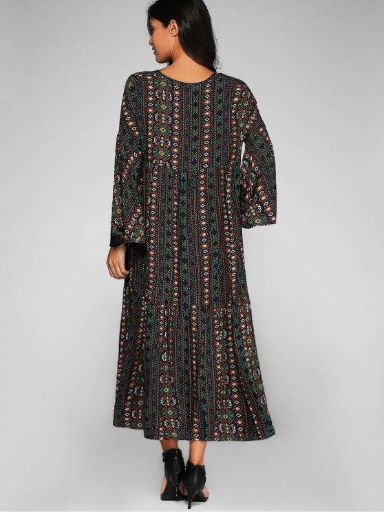 Bell Sleeve Tribal Print Shift Dress - PURPLISH BLUE L Mobile