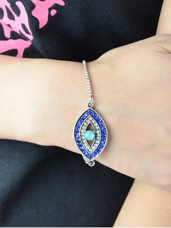 Rhinestone Alloy Eye Shape Bead Bracelet - SILVER  Mobile