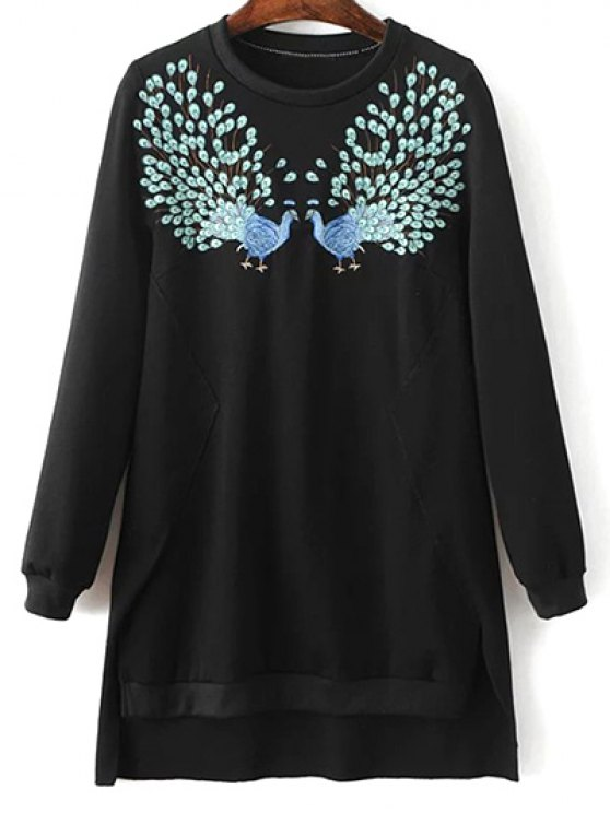 High Low Embroidered Sweatshirt - BLACK S Mobile