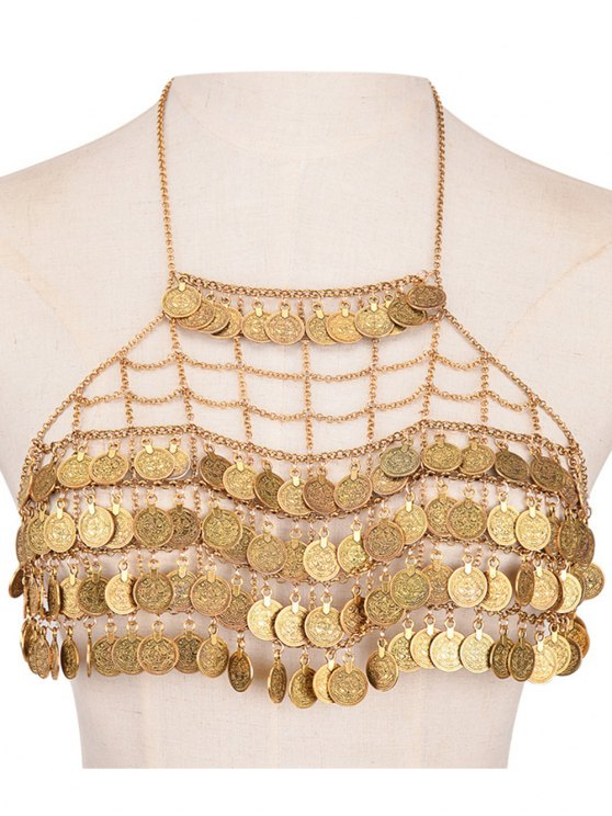 latest Tiered Coins Body Chain - GOLDEN