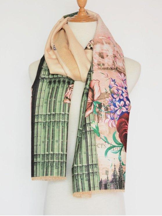 Vintage Big Flower Printing Cotton Shawl Scarf - APRICOT  Mobile