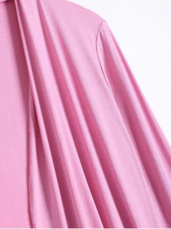 Long Sleeve Irregular Hem Long Cardigan - PINK M Mobile