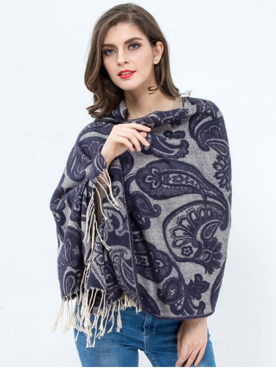 ladies Winter Floral Pattern Printed Tassel Wrap Shawl Pashmina - BLUISH VIOLET