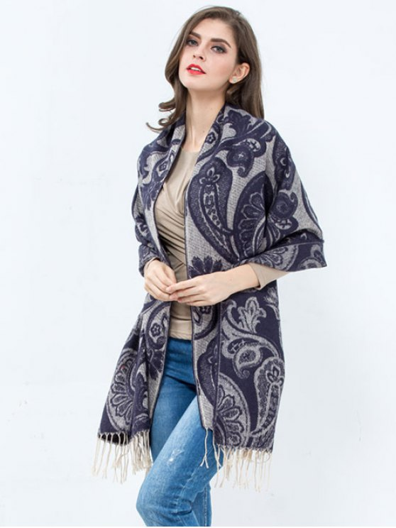 Winter Floral Pattern Printed Tassel Wrap Shawl Pashmina - BLUISH VIOLET  Mobile