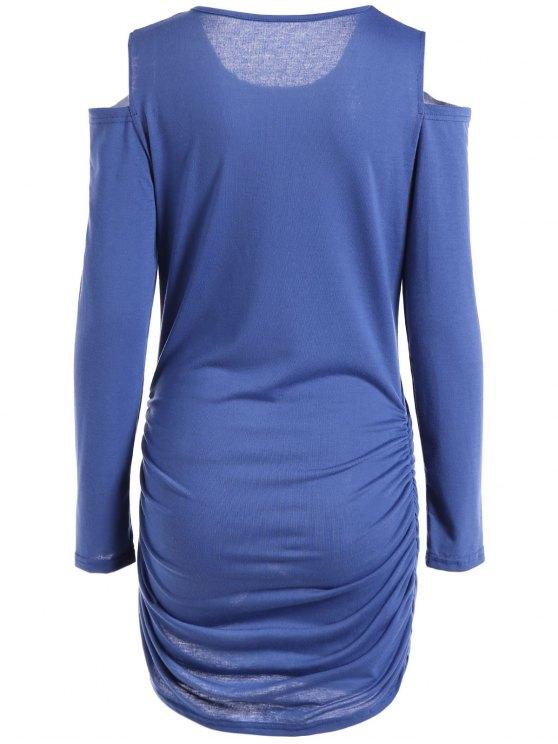 Round Neck Cold Shoulder Ruched T-Shirt Dress - BLUE L Mobile