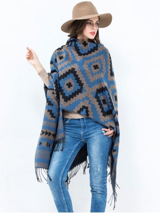 Abra la puerta frontal de la tela escocesa de la onda del diseño de la borla de Pashmina - Azul