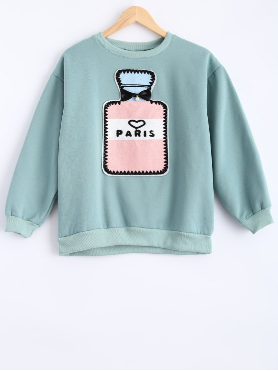 Round Neck Patch Design Sweatshirt - MINT GREEN XL Mobile
