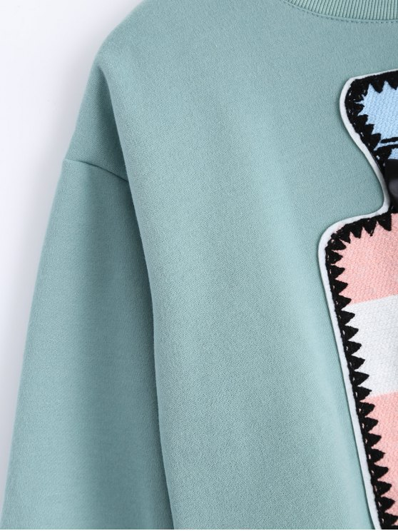 Round Neck Patch Design Sweatshirt - MINT GREEN S Mobile