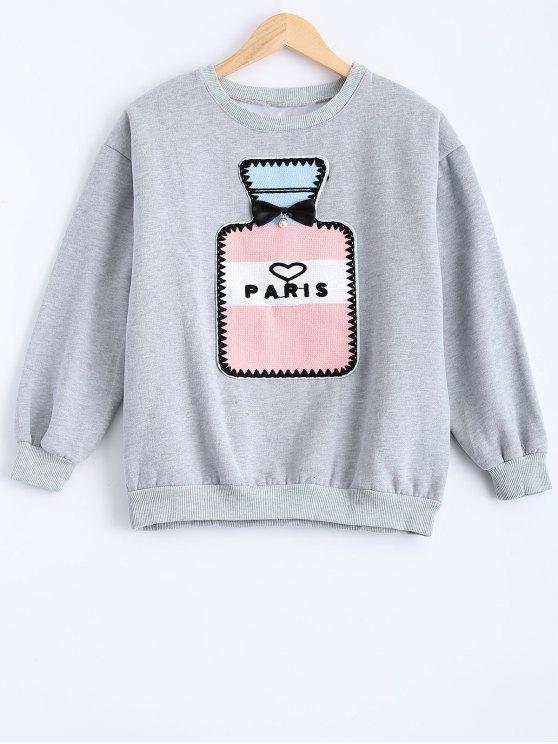 Round Neck Patch Design Sweatshirt - GRAY XL Mobile