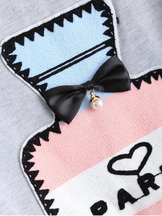 Round Neck Patch Design Sweatshirt - GRAY S Mobile