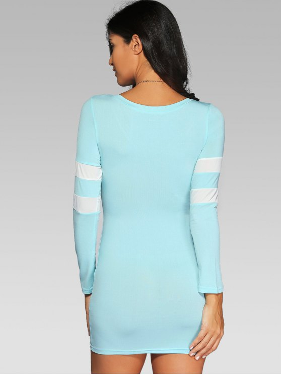 V Neck Stripes Bodycon T Shirt Dress - LIGHT BLUE 2XL Mobile