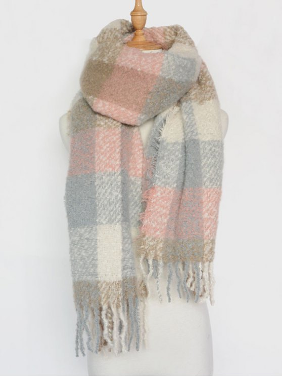 outfit Casual Color Block Plaid Tassel Shawl Pashmina - PINK